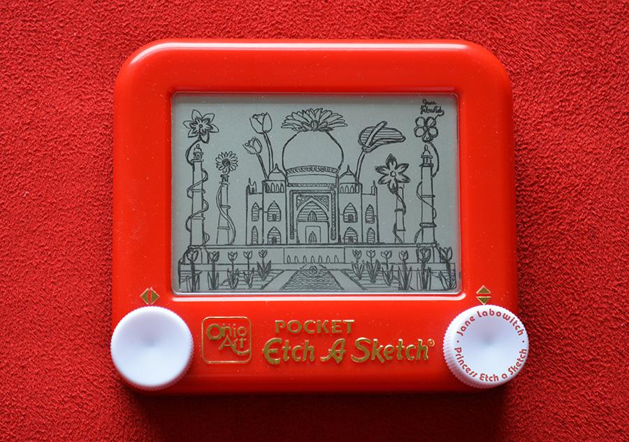 Taj Mahal Flowers Etch A Sketch by pikajane