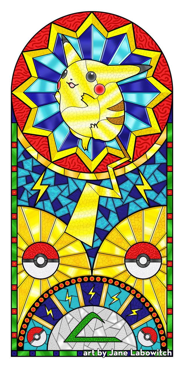 Pikachu Stained Glass Window Illustration by pikajane