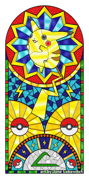 Pikachu Stained Glass Window Illustration