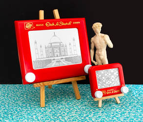 Taj Mahal and Hall of Mirrors Etch A Sketch