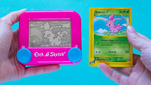 Nidoran male Etch A Sketch and card