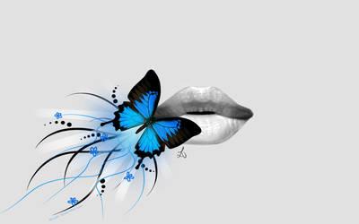 Blue butterfly on lips