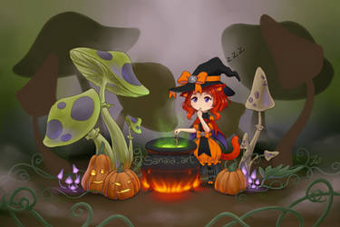 Scarlet and her cauldron
