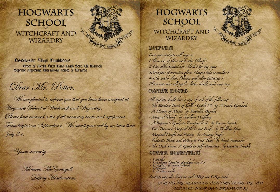 Hogwarts Acceptance Letter By Envy 555 .