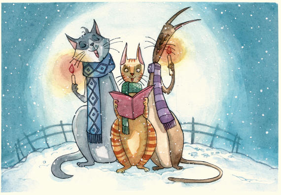 Christmas Cat Choir by maina