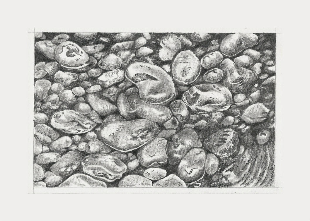 Riverbed pebbles by aakritiarts