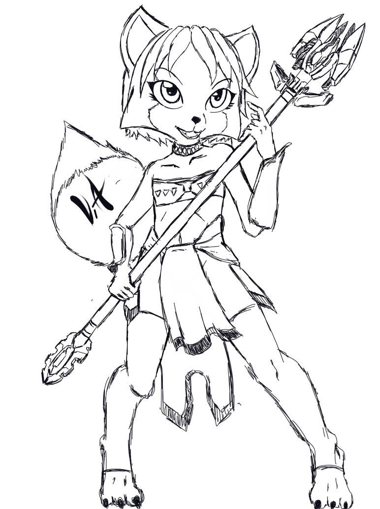 Krystal Loli Receiving Her Staff Line Art By V Tal On Deviantart