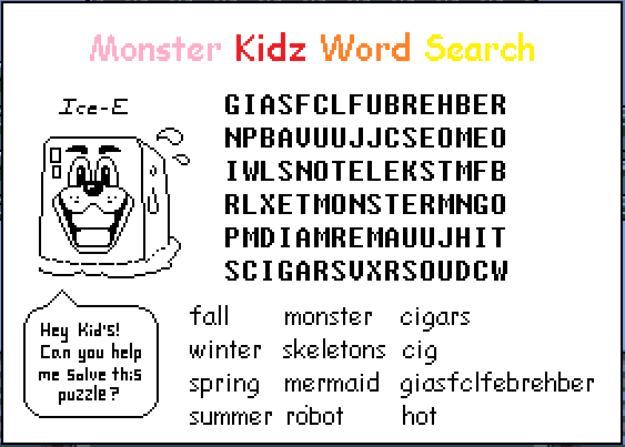 Monster Kidz Word Search [FROM UNDERTALE] by DaBoyGenius