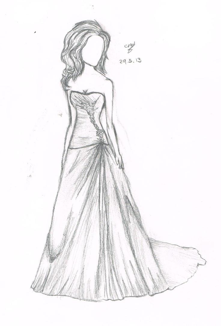 How To Draw Anime Girl Dress Simple Wedding Dress b...