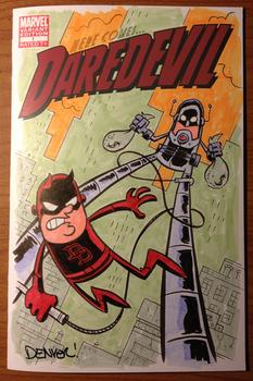 Daredevil vs. Stilt-Man sketch cover commission