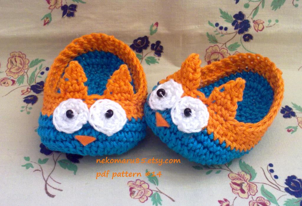 Crochet Owl Baby Booties Pattern : Baby Crochet Booties Owl by Nekomaru85 on DeviantArt