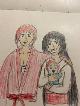 Kenshin, Kurisuta, and Baby Shinta