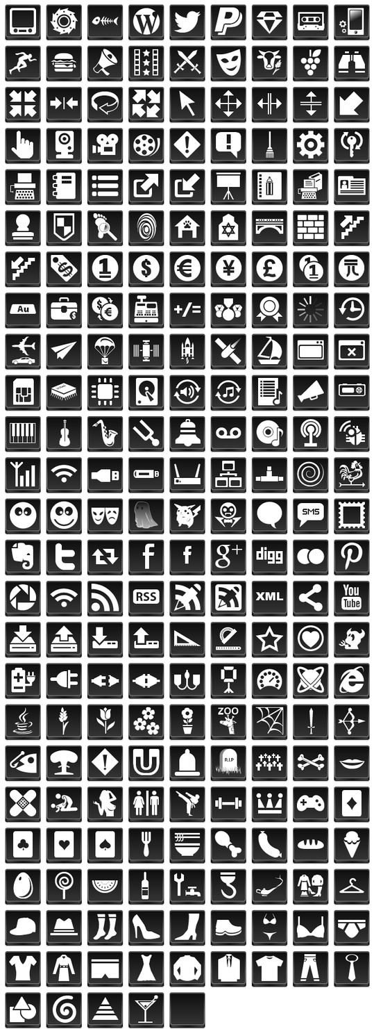 Free Black Button Icons by aha-soft-icons