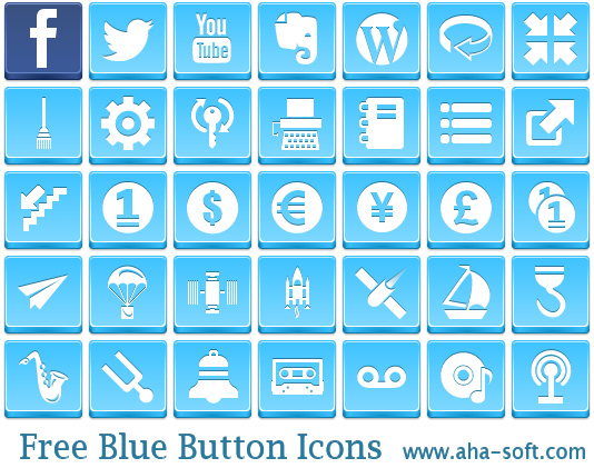 Free Blue Button Icons by aha-soft-icons
