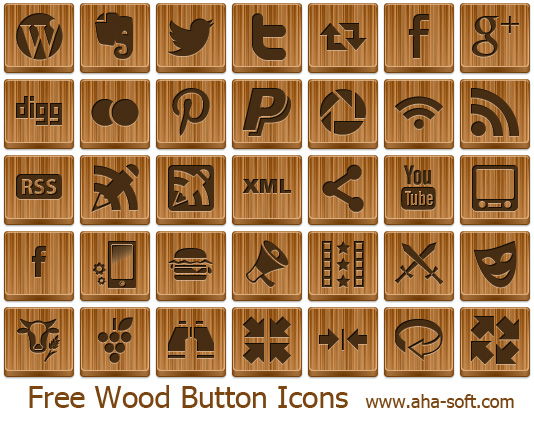 Free Wood Button Icons by aha-soft-icons