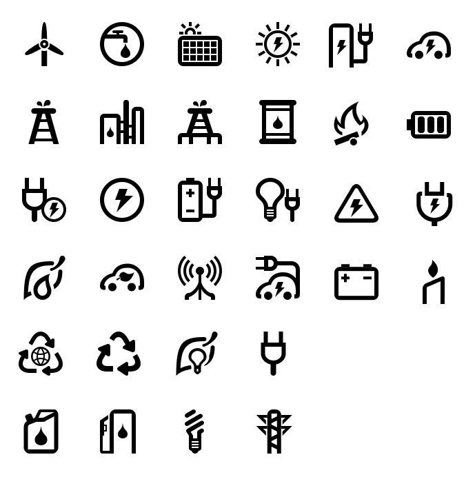 Green Energy SVG Icons by aha-soft-icons
