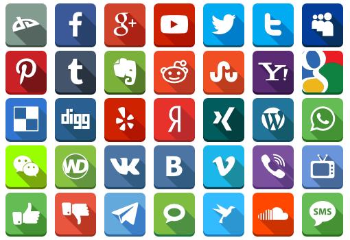 Social LongShadow Icons