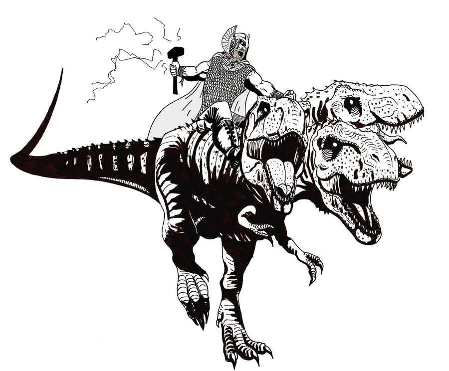 thor_riding_a_three_headed_rex_by_strong