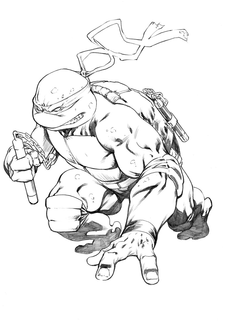 michelangelo tmnt sketch by robertatkins on deviantart