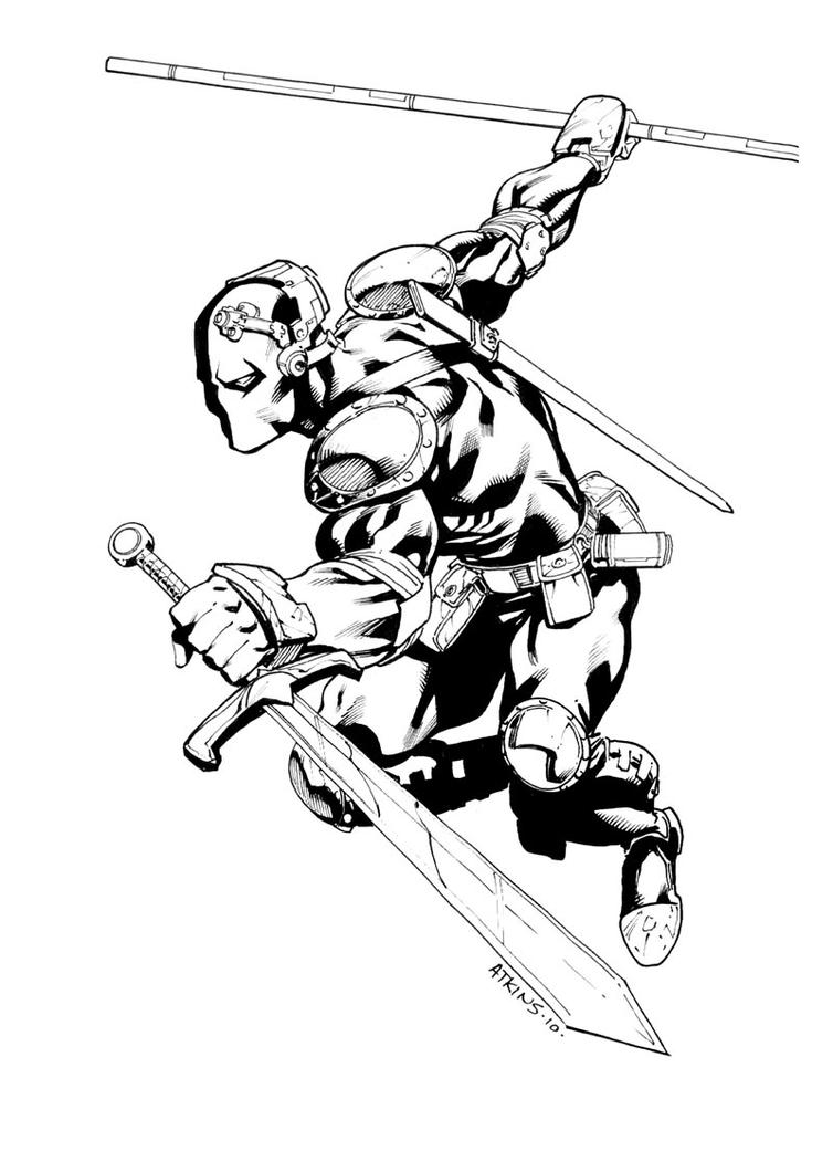 coloring pages of deathstroke costume   DeathStroke SDCC sketch by RobertAtkins on DeviantArt