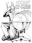 Christmas Sketch Professor X by RobertAtkins