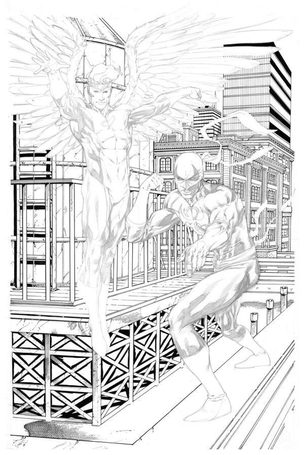 Angel and Iron Fist commission WIP by RobertAtkins