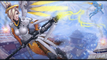 Mercy vs Pharah - Justice Rains From Above by itzaspace