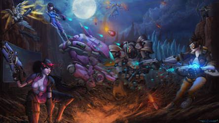 Overwatch Team Fight by itzaspace