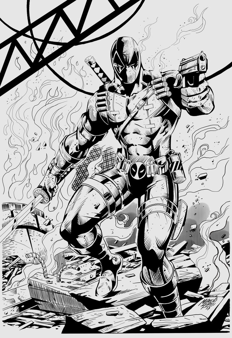 Deadpool Inks by greenjaygraphic