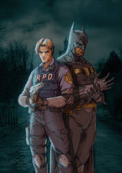 Leon and Batman by greenjaygraphic