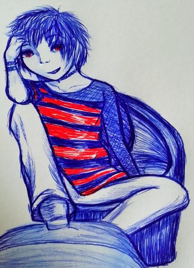 Ballpoint pen drawing by Kitten-Draws