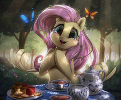 Fluttershy tea party by Light262