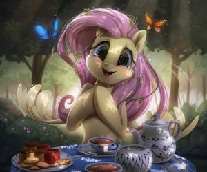 Fluttershy tea party by Light262