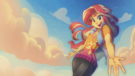 Sunset Shimmer Happy - WALLPAPER  by Light262