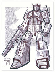 Optimus Prime - Pen Sketch by MichaelCrichlow