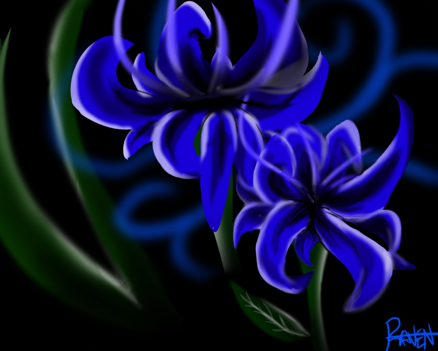 Blue flowers (Cripser lines) by Darkstor1