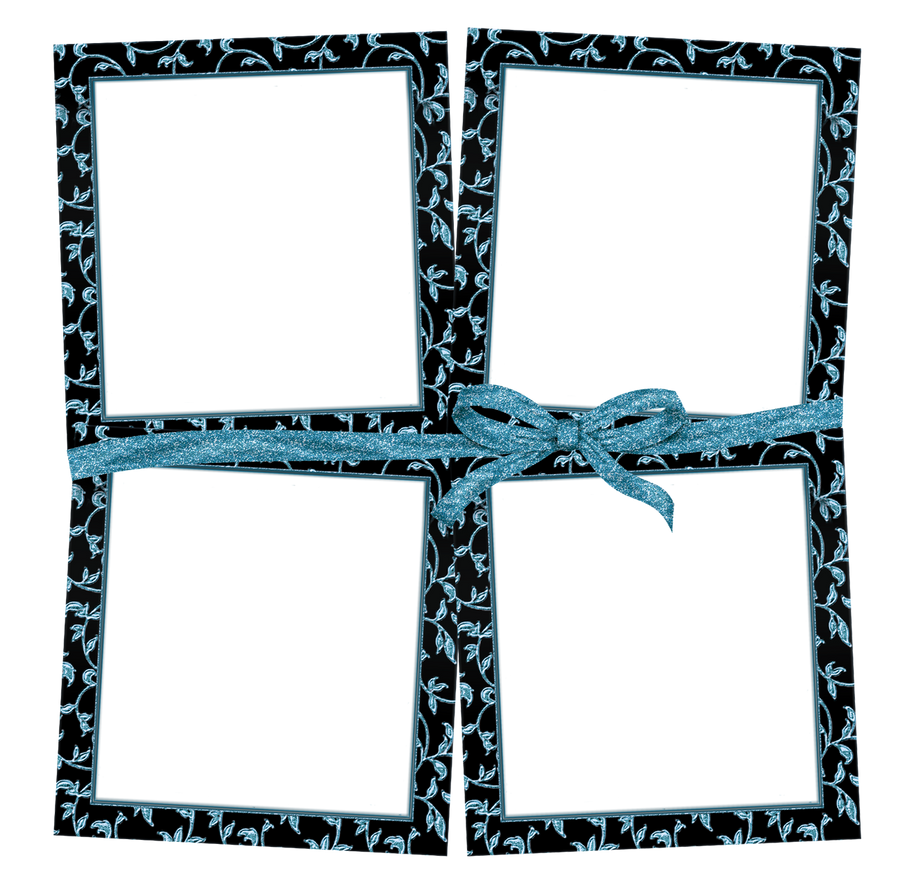 4-Frames-Black-Blue-Bow by KarenPhoto70 on DeviantArt