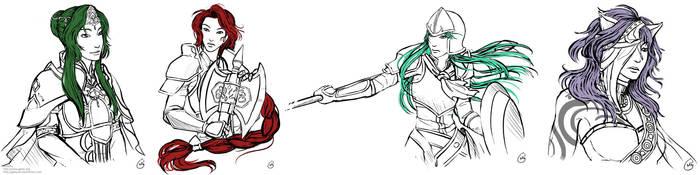 Elincia, Titania, Nephenee and Nailah sketch