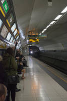 Train arriving at Moorfields Station by ianwh