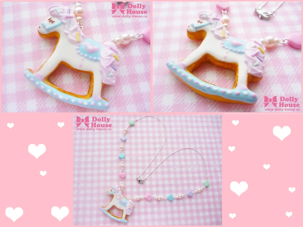 Rocking Horse Cookie Necklace by Dolly House by SweetDollyHouse
