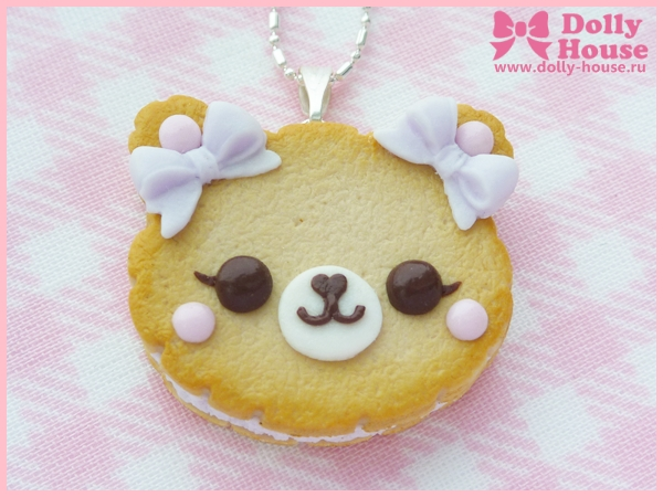 Cookie Bear With Lilac Bows Necklace by Dolly Hous by SweetDollyHouse