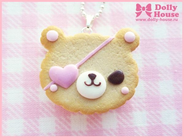 Bandit Bear Cookie Necklace by Dolly House by SweetDollyHouse