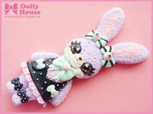 Pastel Goth Bunny Necklace by Dolly House