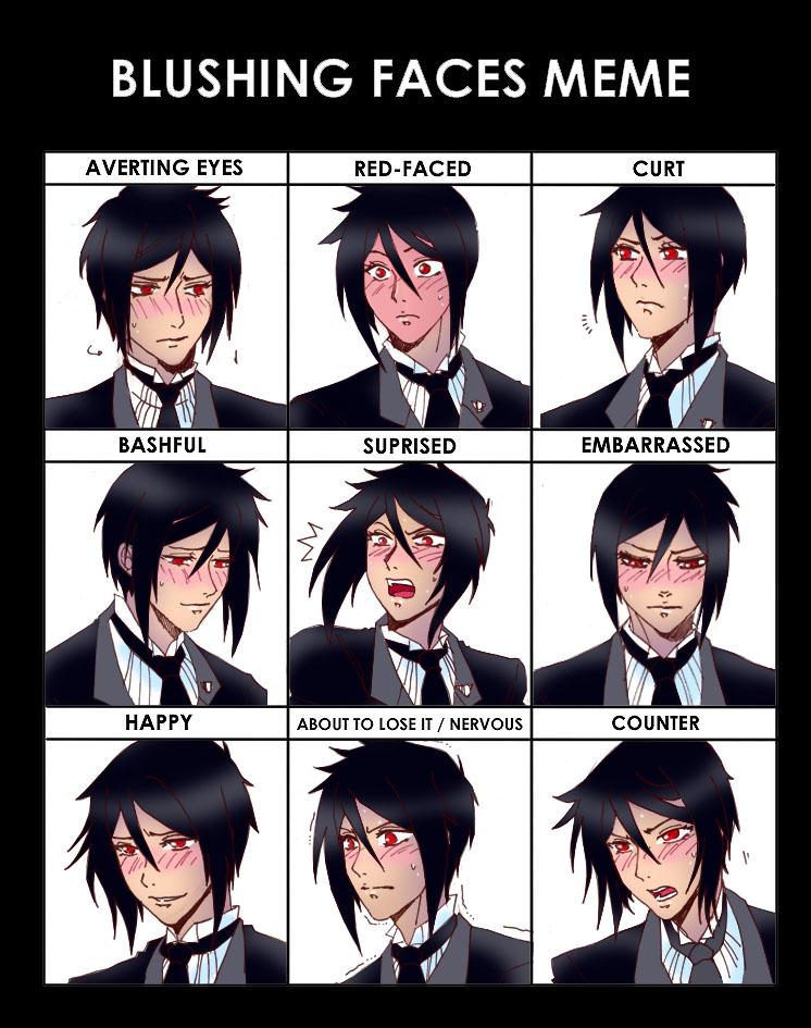 Blushing Faces Meme: Sebastian by claudiakat