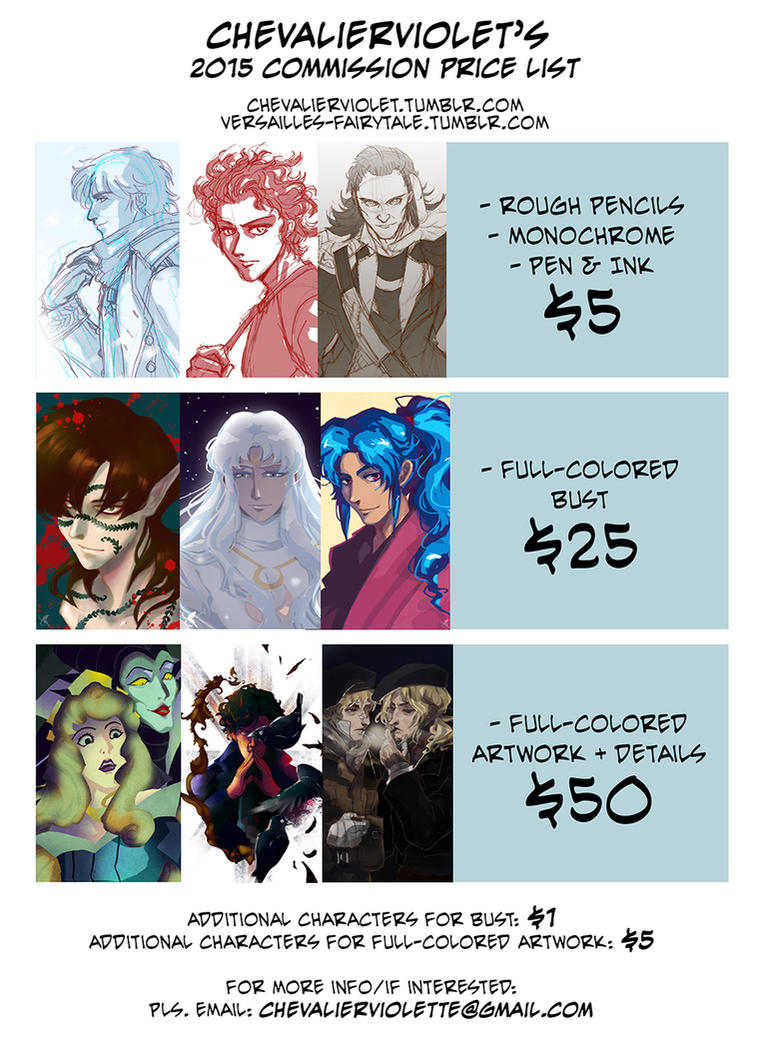 COMMISSION OPEN! Price list~ by claudiakat