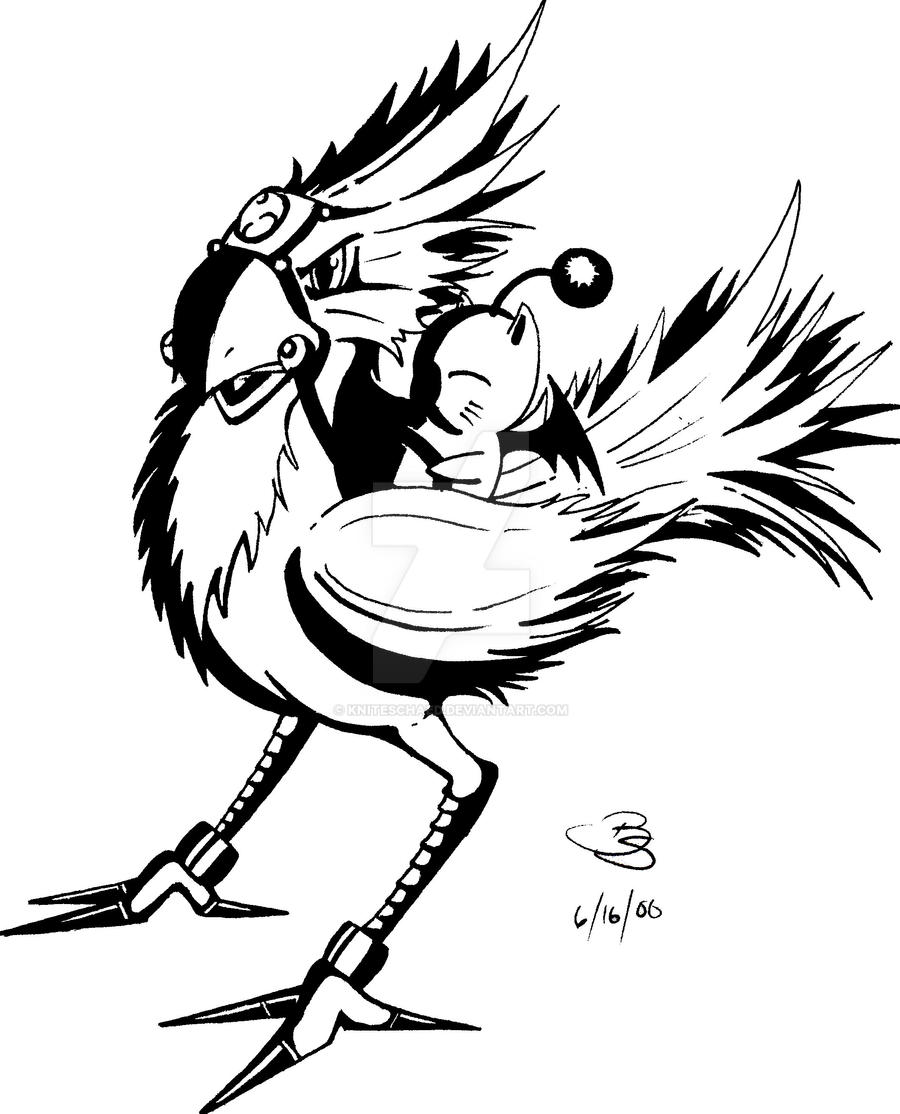 moogle riding chocobo line art by kniteschaed on deviantart