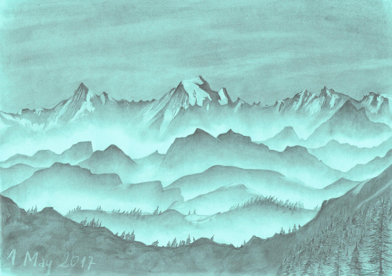 Foggy mountains by oboeteru