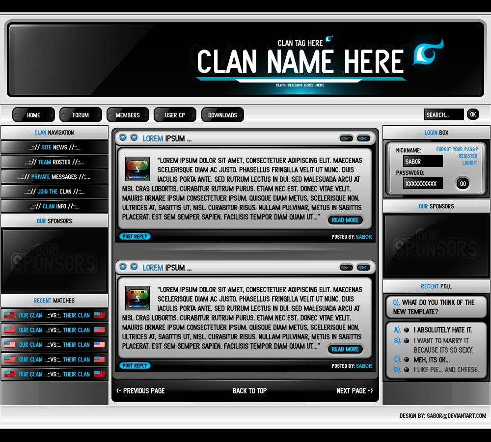 Clan Template By Sabr On DeviantArt - Clan website templates