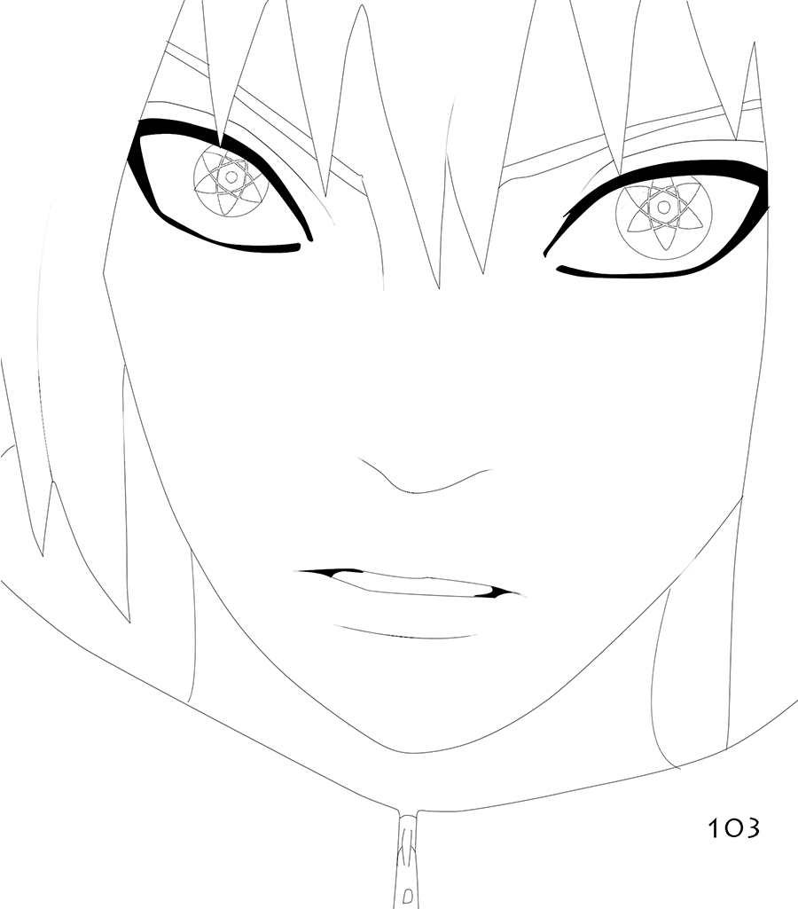 Naruto 619 - Sasuke lineart by the103orjagrat