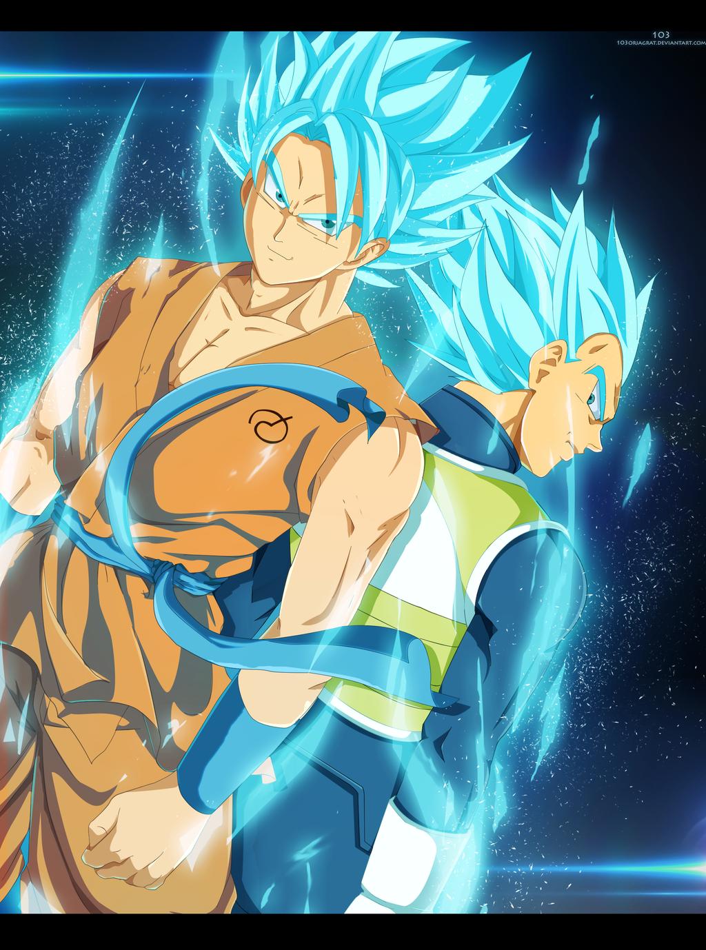 Goku And Vegeta super saiyan GODS by The-103